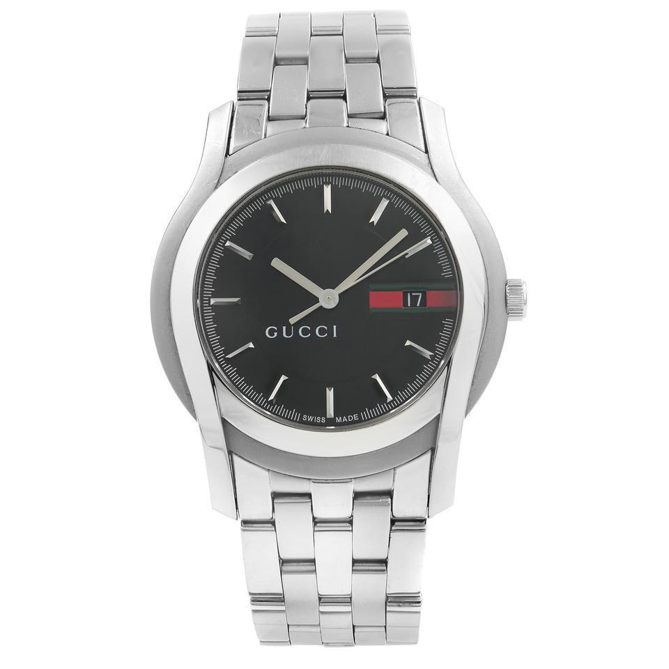 74a93387fe0 Gucci 5500 XL Stainless Steel Black Gucci Logo Dial Quartz Mens Watch Image  0 ...