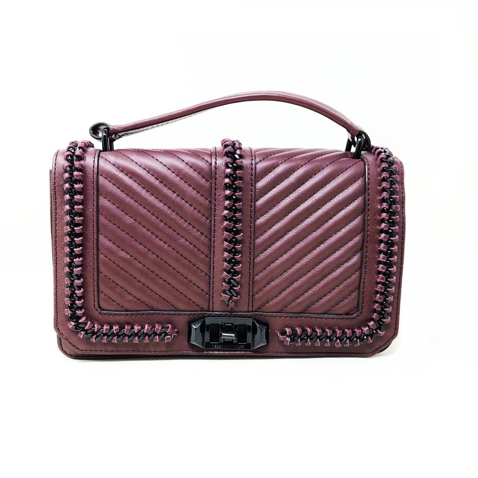 4f35155888d Rebecca Minkoff Love Chevron Quilted Slim Cherry Leather Cross Body Bag 15%  off retail