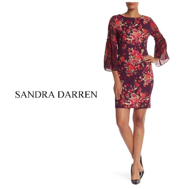 Item - Purple Plum Floral 3/4 Pleated Bell Sleeve Mid-length Cocktail Dress Size 12 (L)