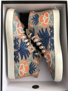 Rebecca Minkoff Zaina Suede Embroidered Sneakers Sand Floral Athletic
