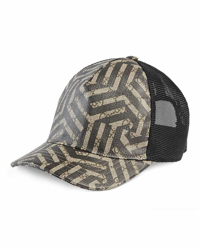 22b6f7a7b1327 Gucci Gucci Caleido Brown and Black GG Logo Leather and Mesh Cap 426887 ...