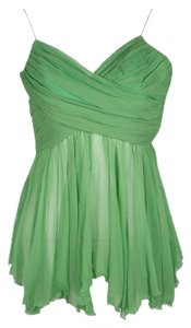 Chloé Green Pleated Crinkled Chiffon Noodle Strap Top S