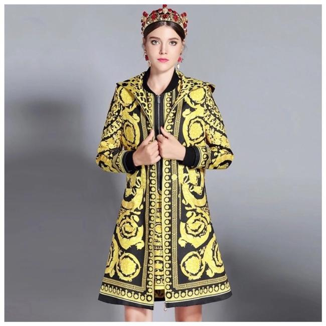 Preload https://img-static.tradesy.com/item/25010271/black-and-yellow-the-valentina-venetian-print-ornate-hooded-jacket-blazer-size-8-m-0-0-650-650.jpg