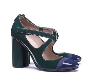 Tory Burch Patent Leather Navy Blue Green Pumps