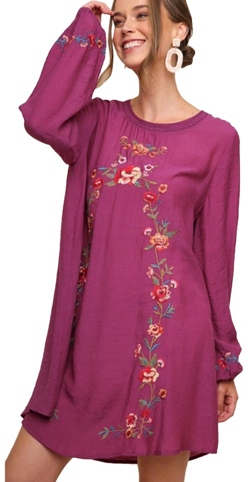 2a7dc0e50482 Umgee Pink M Magenta Floral Embroidered Long Puff Sleeve Bohemian Casual  Dress