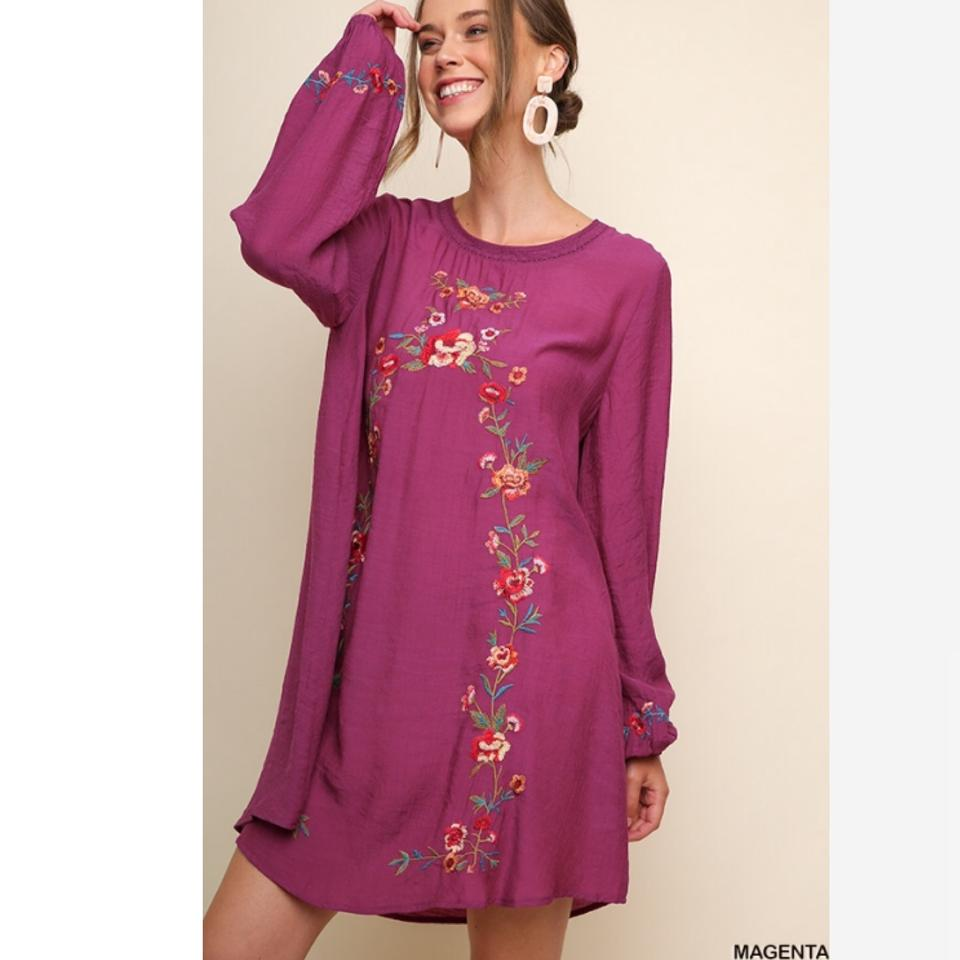 b3d9956906af Umgee Pink L Magenta Floral Embroidered Long Puff Sleeve Bohemian ...