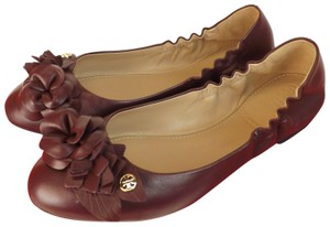 Tory Burch Floral Bow Logo Burgundy Red Flats