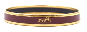 Hermès logo enamel plated skinny Bangle bracelet cuff gold hardware