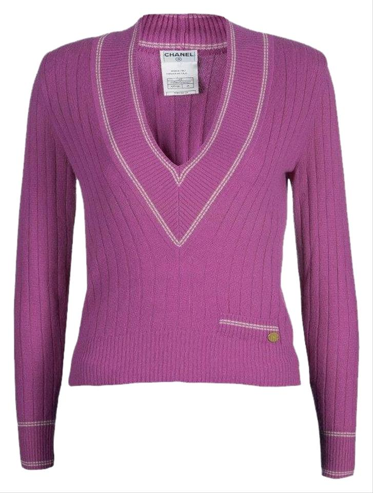 00d85888823 Chanel V Neck Cashmere Pink Sweater - Tradesy