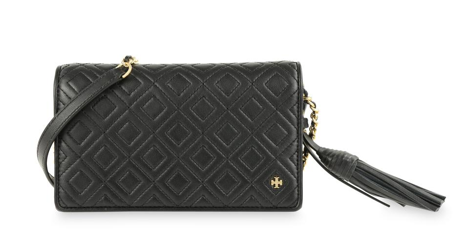 6895c14922a Tory Burch Fleming Quilted Black Leather Cross Body Bag - Tradesy