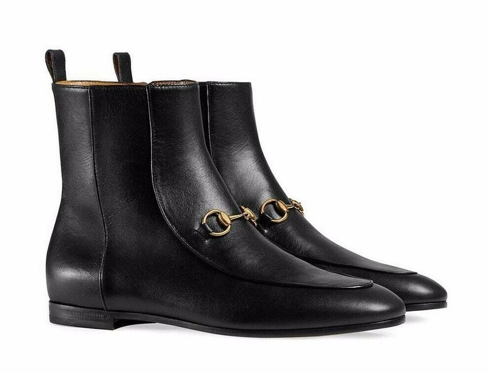 4242cdd0 Gucci Black Horsebit New Jordaan Leather Gold Short Chelsea Ankle  Boots/Booties Size EU 42 (Approx. US 12) Regular (M, B)