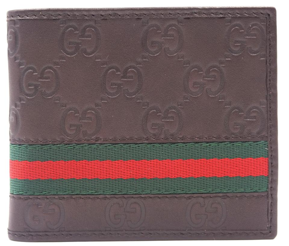 00005696084 Gucci GG Guccisima leather canvas and red green stripe bifold Wallet Image  0 ...