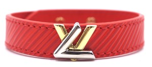 Louis Vuitton LV gold silver twist logo Bracelet bicolor hardware epi leather