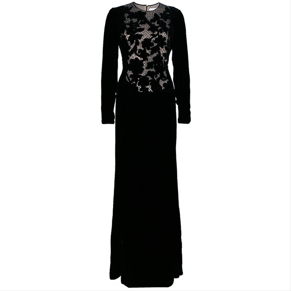 d7aabe466064 Valentino Black Silk Inset Velvet Gown M Formal Wedding Dress. Street Size   8 ...
