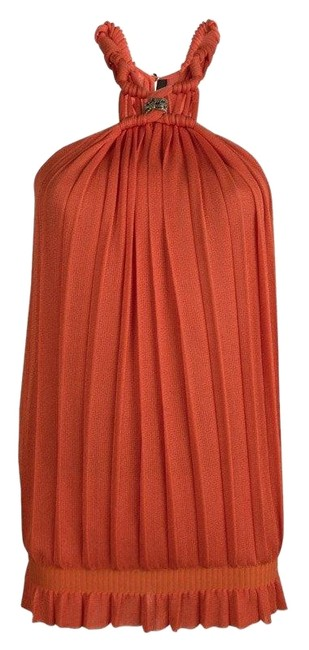 Preload https://img-static.tradesy.com/item/25011682/roberto-cavalli-orange-plisse-knit-knotted-sleeveless-s-blouse-size-4-s-0-1-650-650.jpg