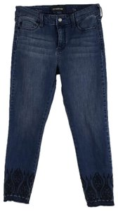 Liverpool Jeans Company Raw Released Embroidered Midrise Skinny Jeans-Medium Wash