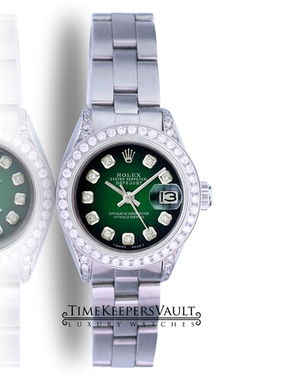 Rolex Rolex Lady Datejust Green Diamond Dial Diamond Lugs Bezel 26mm Watch