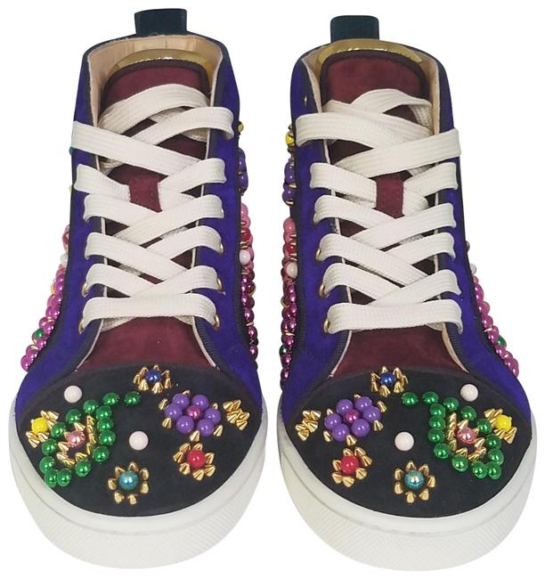 Item - Blue Purple Black Multicolored Embellished Gold Studs Beads High Top Sneakers Size EU 36 (Approx. US 6) Regular (M, B)