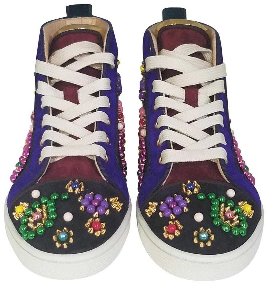 finest selection 06740 9a226 Christian Louboutin Blue Purple Black Multicolored Embellished Gold Studs  Beads High Top Sneakers Size EU 36 (Approx. US 6) Regular (M, B) 65% off ...