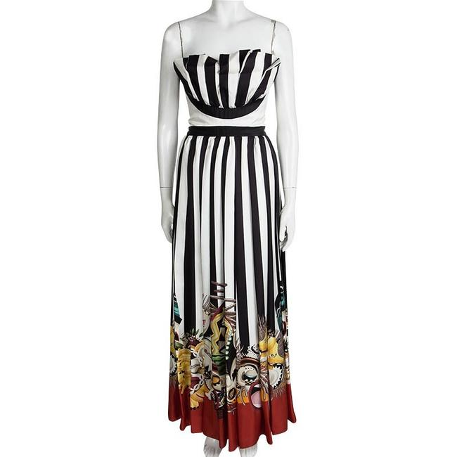 Multicolor Maxi Dress by Dsquared2 Couture Striped Silk Strapless Maxi