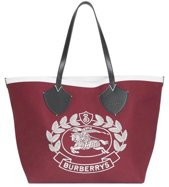 Item - The Giant Tote Red Cotton & Calf Skin Leather Beach Bag
