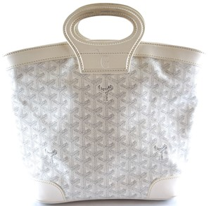 Goyard Beluga Pm Satchel Tote in white Goyardine canvas and leather