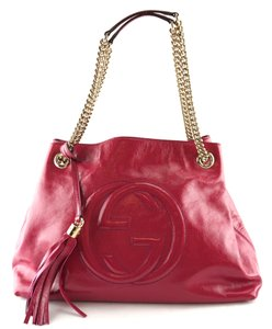 9a683916872 Gucci Tassel Leather Chains Hobo Tote in hot pink
