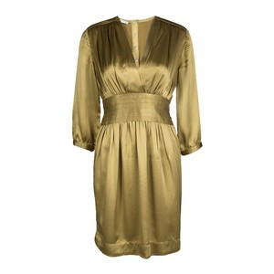 Stella McCartney Dull Gold Satin Pleated Long Sleeve Dress S