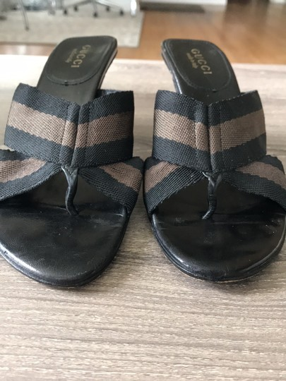 Gucci black with brown Sandals