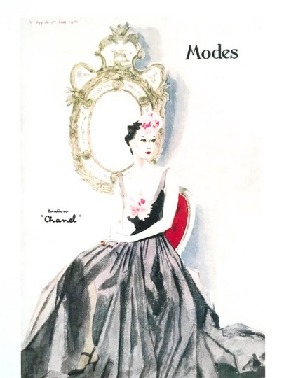 Chanel Chanel Vintage 1930's Ad Print - Seated Woman in Gown