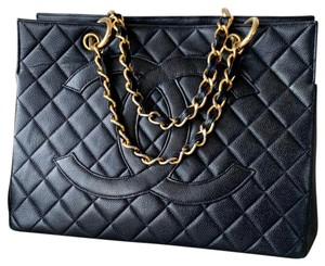 Chanel Gst Timeless Vintage Gst Grand Shopping Tote in Black