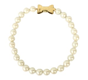 Kate Spade NEW Kate Spade classy glass Pearl gold logo bow Short Necklace