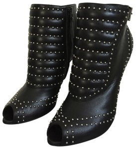 a0c9e8d6b16b Alexander McQueen Leather Studded Quilted Open Toe Black Boots