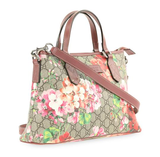 43185551c3aa22 Gucci Small Convertible Gg Blooms Brown Coated Canvas Satchel - Tradesy