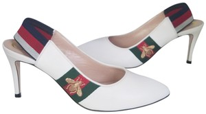 Gucci White leather Green and red Web with gold bee Sylvie Pumps