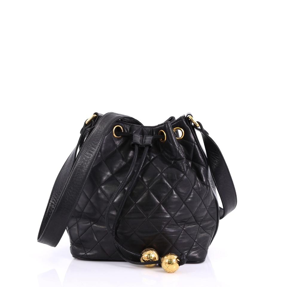d5d43fb1e2d92d Chanel Bucket Drawstring Vintage Quilted Small Black Lambskin Leather  Shoulder Bag