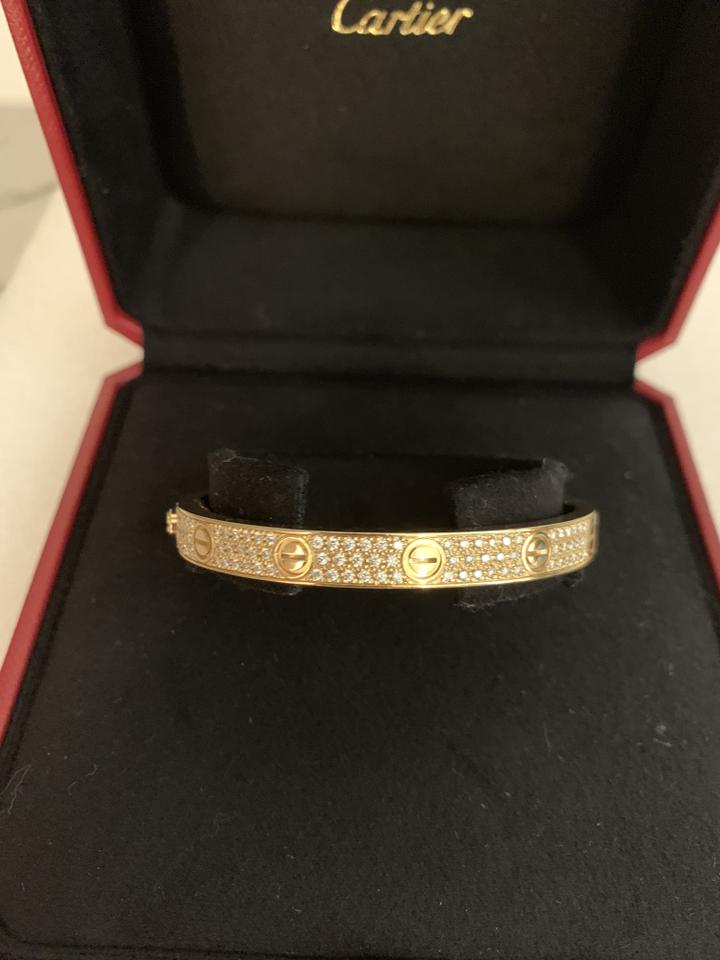 09a333585f563a Cartier 18k Gold Love Diamond-paved Bracelet - Tradesy