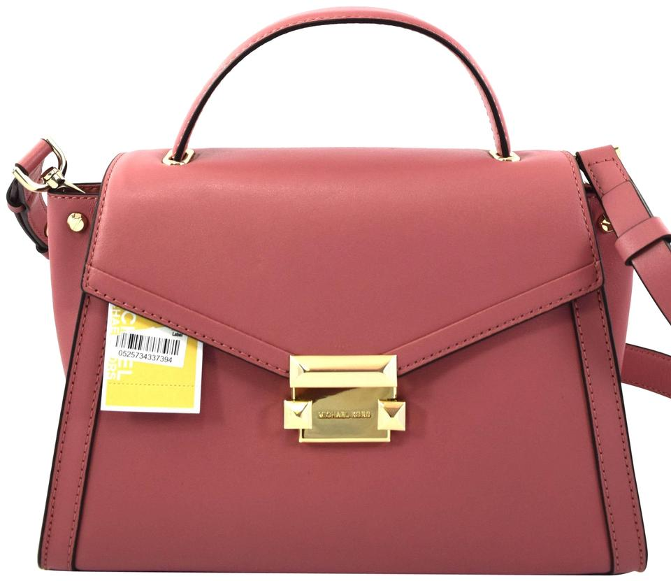 03a75f58d546 Michael Kors Whitney Medium Top Handle Pink Rose Leather Satchel ...