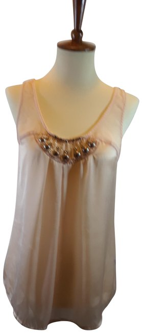 Item - Peach Embellished Silky Tank Top/Cami Size 4 (S)