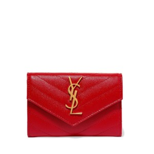 Saint Laurent Monogram Quilted Textured-leather Envelope Wallet