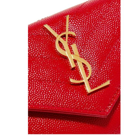Saint Laurent Monogram Quilted Textured-leather Envelope Wallet Image 4