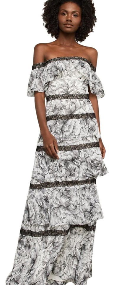 6039c8fd BCBGMAXAZRIA Black and White Off Shoulder Tiered Ruffle Gown Night Out Dress