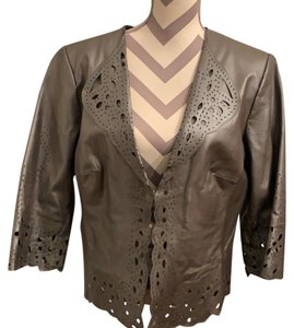 Pamela McCoy gray Leather Jacket