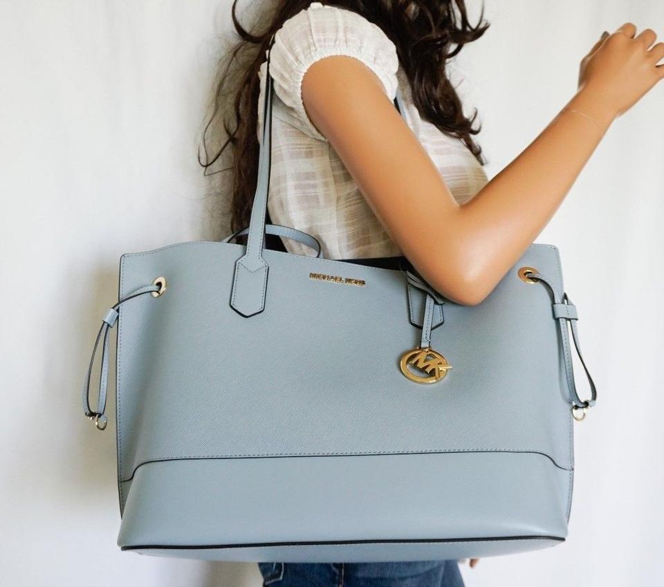 3a7184aa7d648 Michael Kors Trista Drawstring Shoulder W Pouch Light Blue Leather Tote -  Tradesy