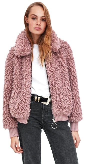 Item - Pink Faux Shearling Bomber Coat Size 2 (XS)
