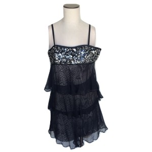 Marc Bouwer Silk Sheer Ruffle Snakeskin Print Tiered Dress