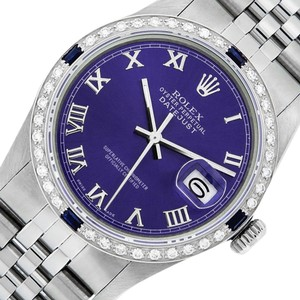 Rolex Purple Mens Datejust Ss/White Gold with Roman Dial Watch