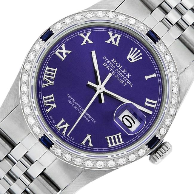 Item - Purple Roman Mens Datejust Ss/White Gold with Dial Watch