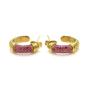 David Yurman One Carat Pink Sapphire 18k Yellow Gold Small Hoop Earrings