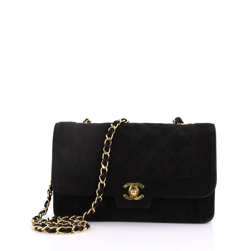 5e2997634c53e4 Chanel Classic Flap Vintage Cc Chain Quilted Small Black Suede ...